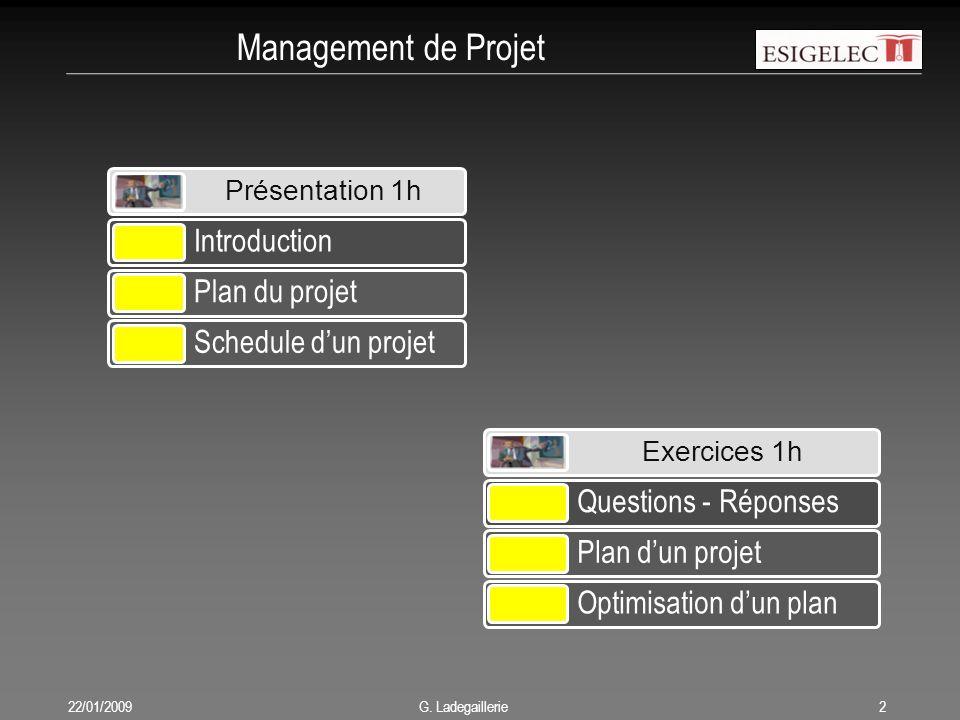 Management de Projet 22/01/20092 G. Ladegaillerie Présentation 1h Introduction Plan du projet Schedule d'un projet Exercices 1h Questions - Réponses P