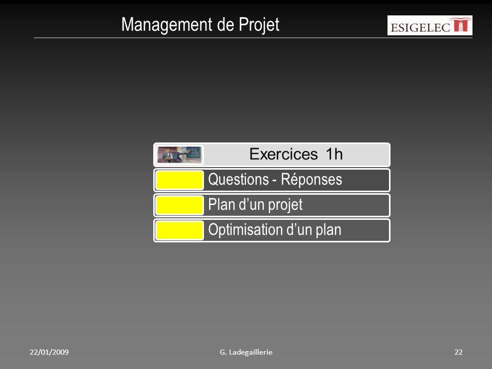 22/01/2009G. Ladegaillerie22 Management de Projet Exercices 1h Questions - Réponses Plan d'un projet Optimisation d'un plan