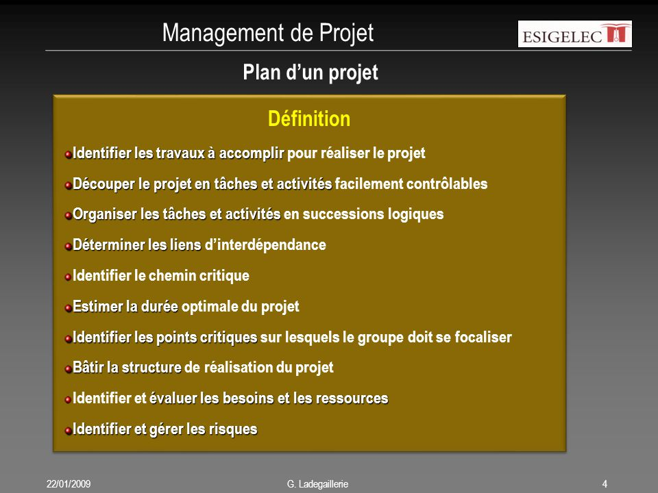 Management de Projet 22/01/20094 G. Ladegaillerie Définition Identifier les travaux à accomplir Identifier les travaux à accomplir pour réaliser le pr