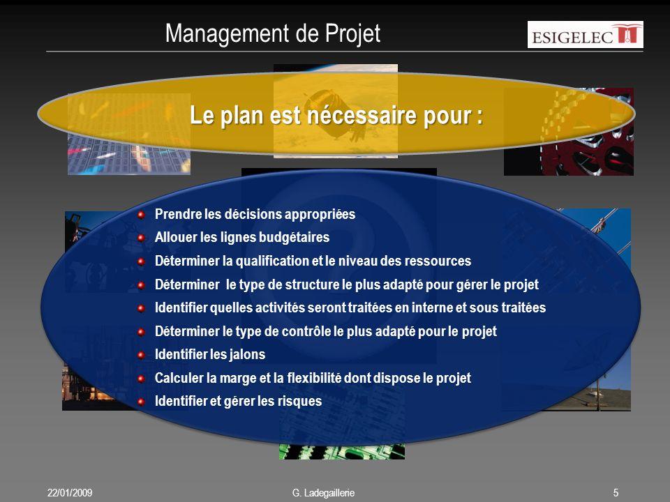 Management de Projet 22/01/20095 G. Ladegaillerie Le plan est nécessaire pour : Prendre les décisions appropriées Allouer les lignes budgétaires Déter