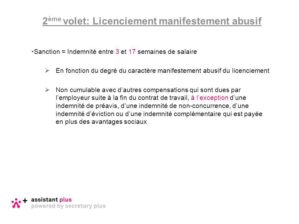 Sanction = Indemnité entre 3 et 17 semaines de salaire  En fonction du degré du caractère manifestement abusif du licenciement  Non cumulable avec d