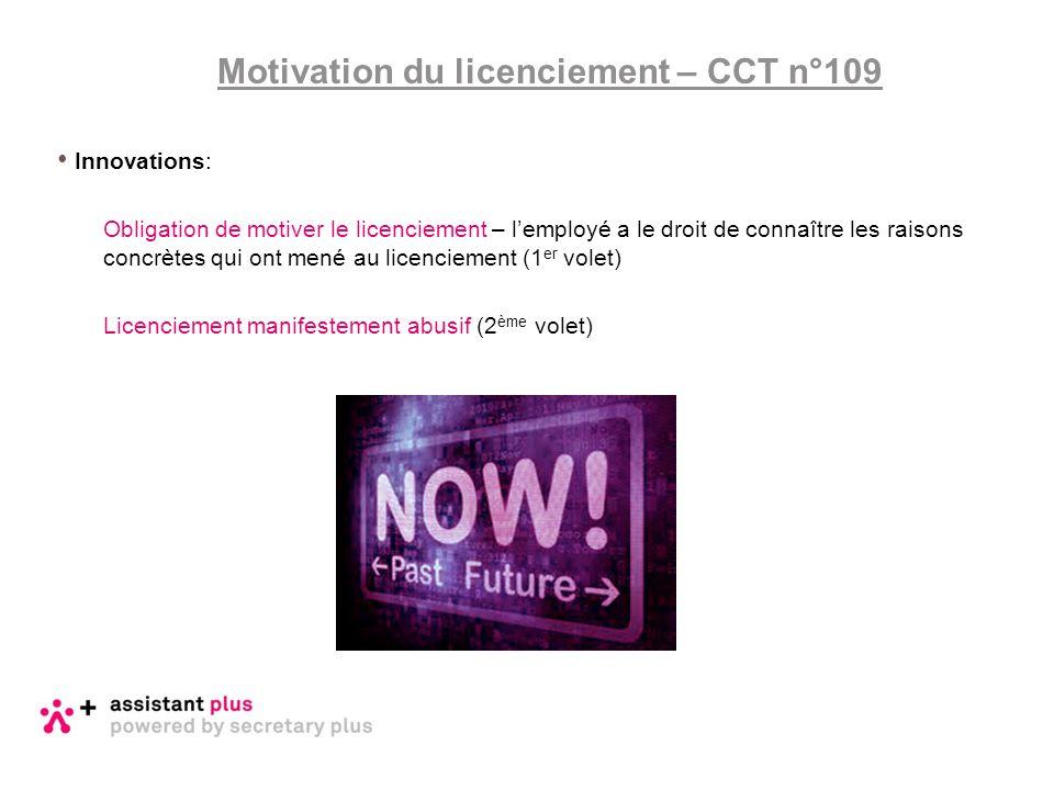 Motivation du licenciement – CCT n°109 Innovations: Obligation de motiver le licenciement – l'employé a le droit de connaître les raisons concrètes qu
