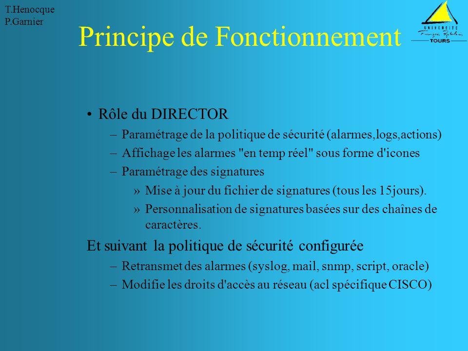 T.Henocque P.Garnier Principe de Fonctionnement Rôle du DIRECTOR –Paramétrage de la politique de sécurité (alarmes,logs,actions) –Affichage les alarme
