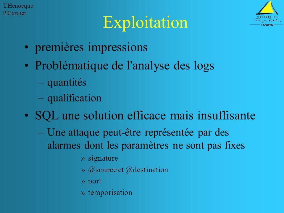 T.Henocque P.Garnier Exploitation premières impressions Problématique de l'analyse des logs –quantités –qualification SQL une solution efficace mais i