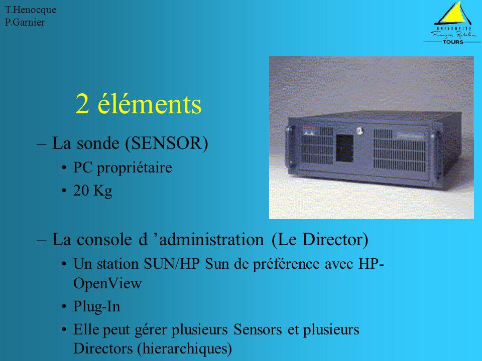 T.Henocque P.Garnier 2 éléments –La sonde (SENSOR) PC propriétaire 20 Kg –La console d 'administration (Le Director) Un station SUN/HP Sun de préférence avec HP- OpenView Plug-In Elle peut gérer plusieurs Sensors et plusieurs Directors (hierarchiques)