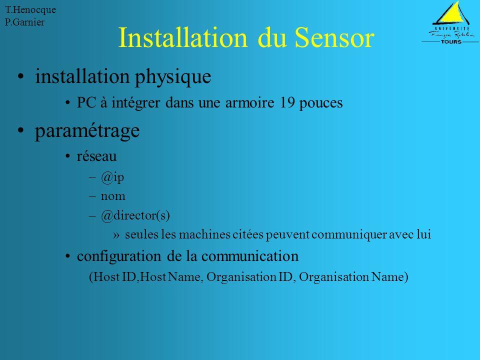 T.Henocque P.Garnier Installation du Sensor installation physique PC à intégrer dans une armoire 19 pouces paramétrage réseau –@ip –nom –@director(s)