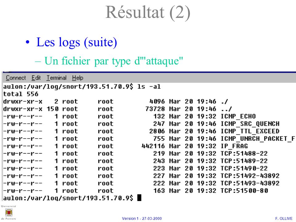 F. OLLIVEVersion 1 - 27-03-2000 Les logs (suite) –Un fichier par type d'