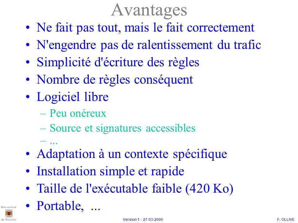 F.OLLIVEVersion 1 - 27-03-2000 Simplicité d écriture des règles Avantages –Peu onéreux –...