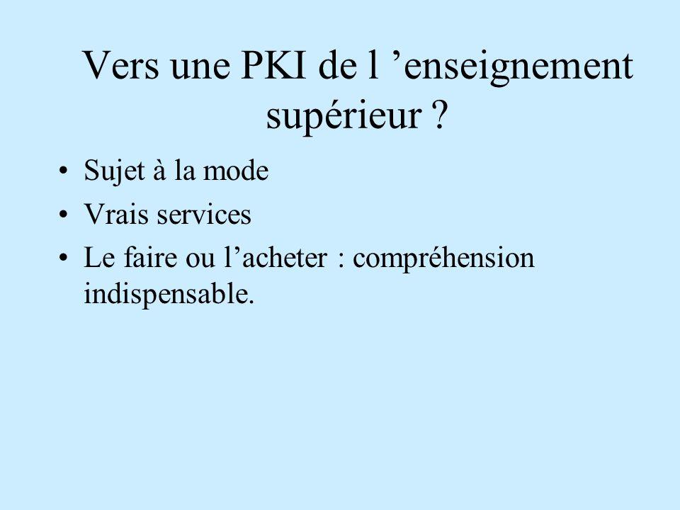 Public Key Infrastructure Le rôle de la PKI est d'organiser la gestion des clefs.
