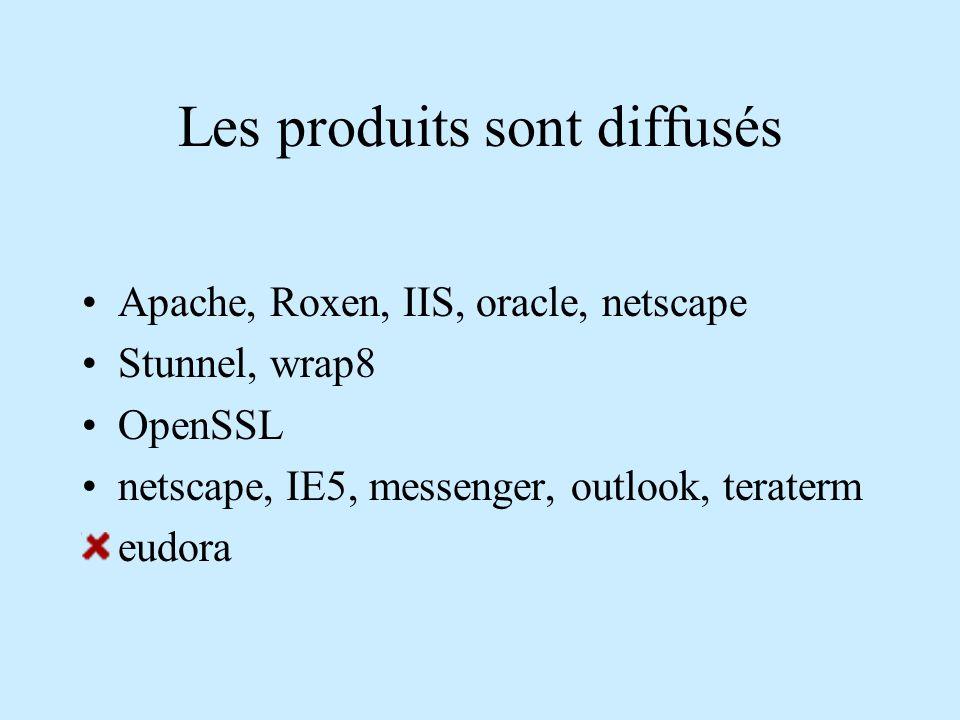 Les produits sont diffusés Apache, Roxen, IIS, oracle, netscape Stunnel, wrap8 OpenSSL netscape, IE5, messenger, outlook, teraterm eudora