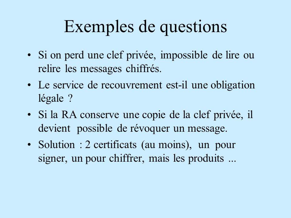 Exemples de questions Si on perd une clef privée, impossible de lire ou relire les messages chiffrés.