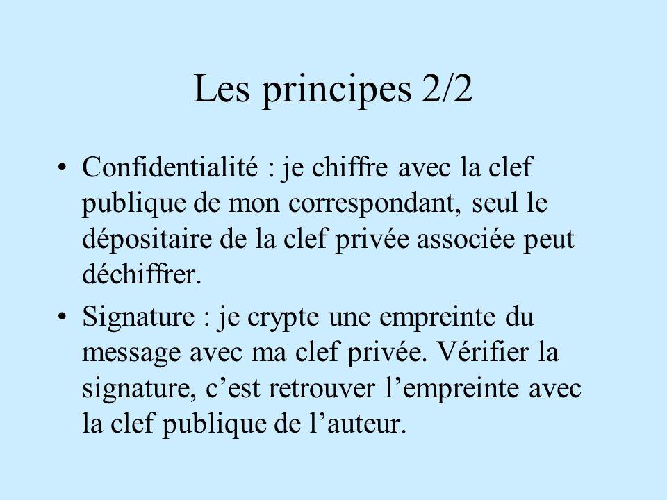 Les principes 2/2 Confidentialité : je chiffre avec la clef publique de mon correspondant, seul le dépositaire de la clef privée associée peut déchiffrer.