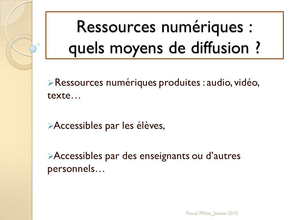 Ressources numériques : quels moyens de diffusion .