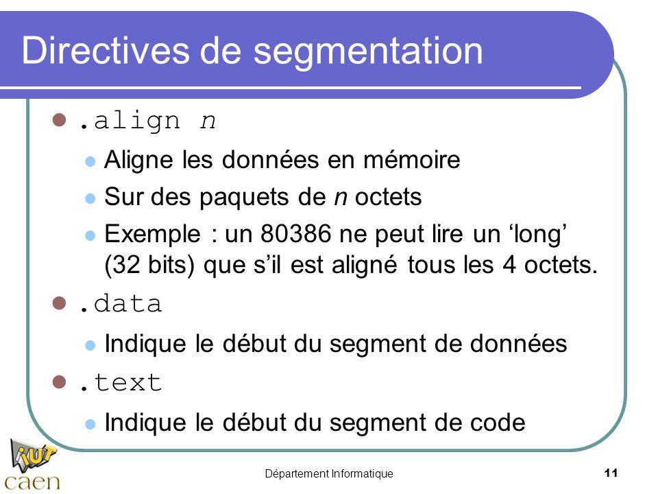 Département Informatique 11 Directives de segmentation.align n Aligne les données en mémoire Sur des paquets de n octets Exemple : un 80386 ne peut li