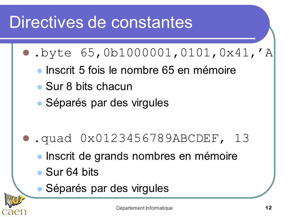 Département Informatique 12 Directives de constantes.byte 65,0b1000001,0101,0x41,'A Inscrit 5 fois le nombre 65 en mémoire Sur 8 bits chacun Séparés p