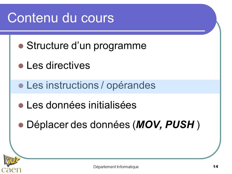 Département Informatique 14 Contenu du cours Structure d'un programme Les directives Les instructions / opérandes Les données initialisées Déplacer de