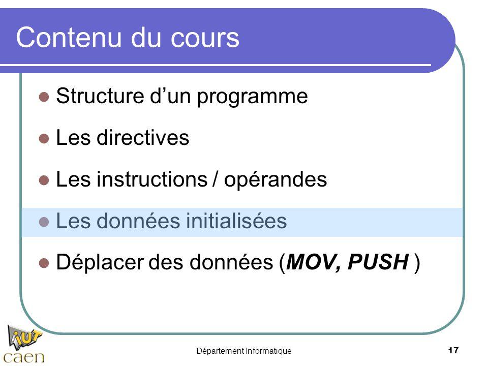 Département Informatique 17 Contenu du cours Structure d'un programme Les directives Les instructions / opérandes Les données initialisées Déplacer de