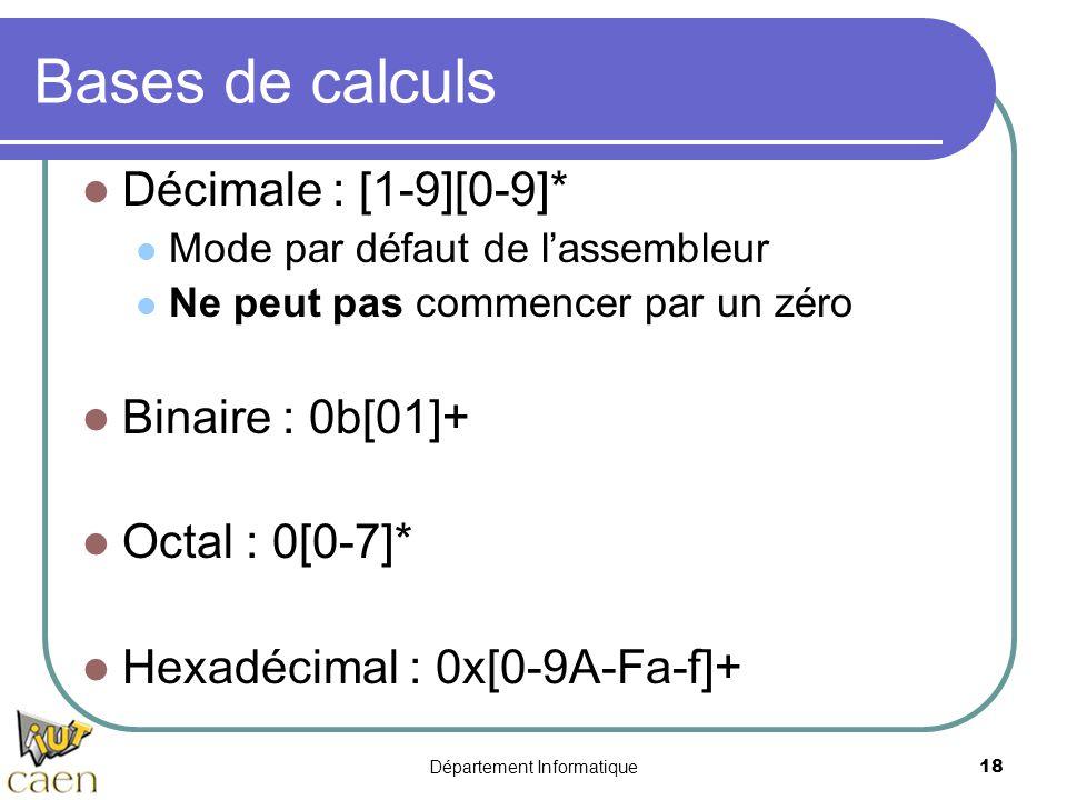 Département Informatique 18 Bases de calculs Décimale : [1-9][0-9]* Mode par défaut de l'assembleur Ne peut pas commencer par un zéro Binaire : 0b[01]