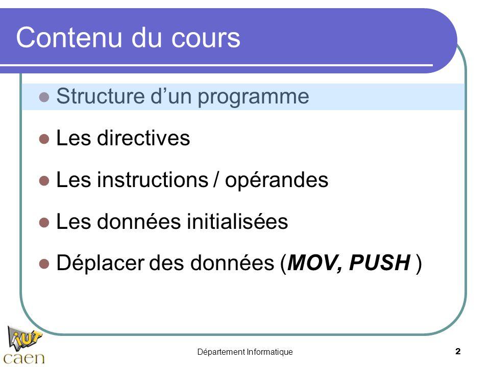Département Informatique 2 Contenu du cours Structure d'un programme Les directives Les instructions / opérandes Les données initialisées Déplacer des