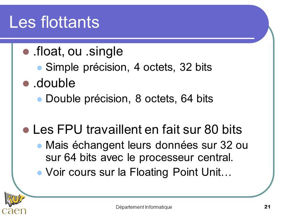 Département Informatique 21 Les flottants.float, ou.single Simple précision, 4 octets, 32 bits.double Double précision, 8 octets, 64 bits Les FPU trav