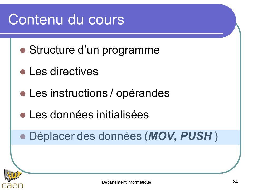 Département Informatique 24 Contenu du cours Structure d'un programme Les directives Les instructions / opérandes Les données initialisées Déplacer de