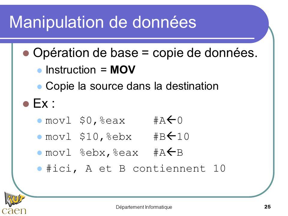 Département Informatique 25 Manipulation de données Opération de base = copie de données. Instruction = MOV Copie la source dans la destination Ex : m