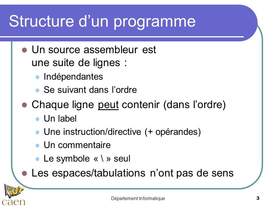 Département Informatique 3 Structure d'un programme Un source assembleur est une suite de lignes : Indépendantes Se suivant dans l'ordre Chaque ligne