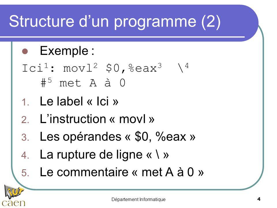Département Informatique 4 Structure d'un programme (2) Exemple : Ici 1 : movl 2 $0,%eax 3 \ 4 # 5 met A à 0 1. Le label « Ici » 2. L'instruction « mo