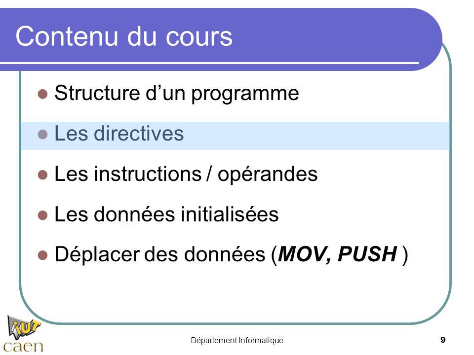 Département Informatique 9 Contenu du cours Structure d'un programme Les directives Les instructions / opérandes Les données initialisées Déplacer des