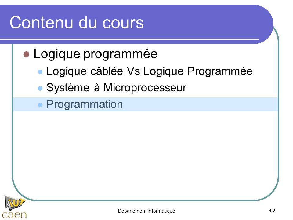 Département Informatique12 Contenu du cours Logique programmée Logique câblée Vs Logique Programmée Système à Microprocesseur Programmation