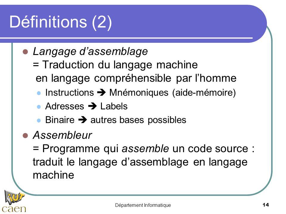 Département Informatique14 Définitions (2) Langage d'assemblage = Traduction du langage machine en langage compréhensible par l'homme Instructions  M