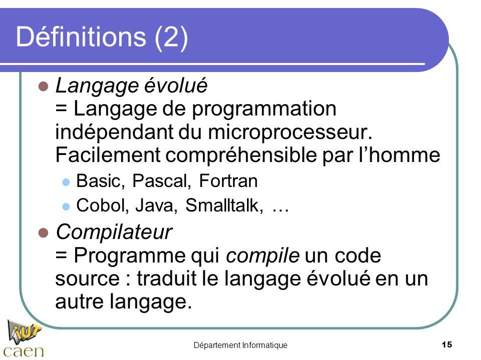 Département Informatique15 Définitions (2) Langage évolué = Langage de programmation indépendant du microprocesseur. Facilement compréhensible par l'h