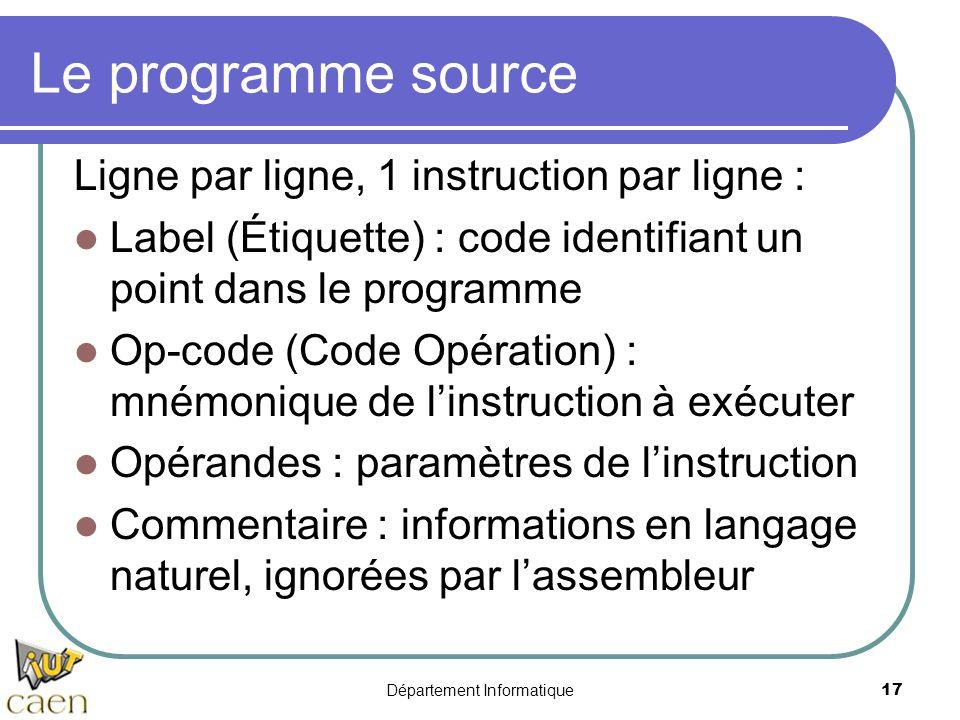 Département Informatique17 Le programme source Ligne par ligne, 1 instruction par ligne : Label (Étiquette) : code identifiant un point dans le progra