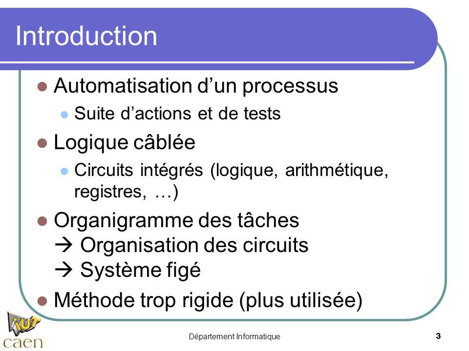 Département Informatique4 Le microprocesseur (  P) « petit » « processus » Circuit complexe Logique câblée Fonctions diverses (logique, arithmétique…) Exécute un programme Suite de commandes (instructions) Instructions codées en binaire Communique avec des périphériques