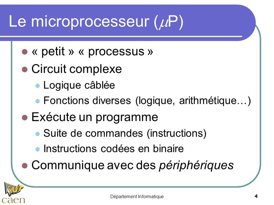 Département Informatique4 Le microprocesseur (  P) « petit » « processus » Circuit complexe Logique câblée Fonctions diverses (logique, arithmétique…
