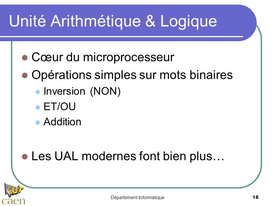 Département Informatique18 Unité Arithmétique & Logique Cœur du microprocesseur Opérations simples sur mots binaires Inversion (NON) ET/OU Addition Le
