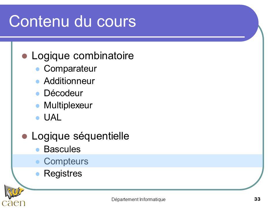 Département Informatique33 Contenu du cours Logique combinatoire Comparateur Additionneur Décodeur Multiplexeur UAL Logique séquentielle Bascules Comp