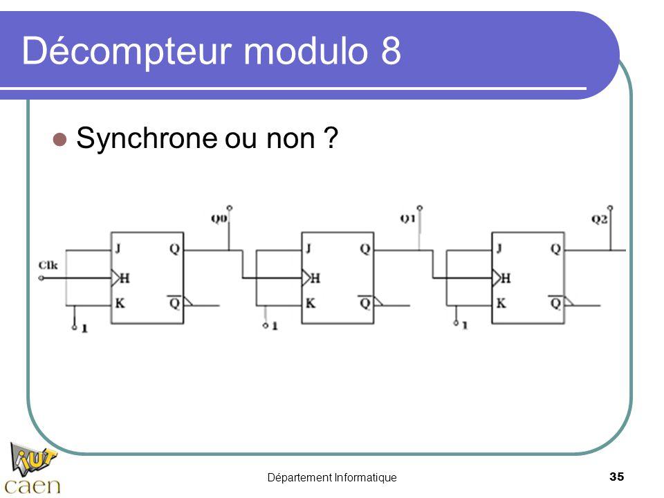 Département Informatique35 Décompteur modulo 8 Synchrone ou non ?