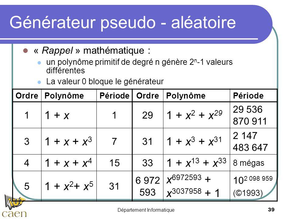 Département Informatique39 Générateur pseudo - aléatoire « Rappel » mathématique : un polynôme primitif de degré n génère 2 n -1 valeurs différentes L