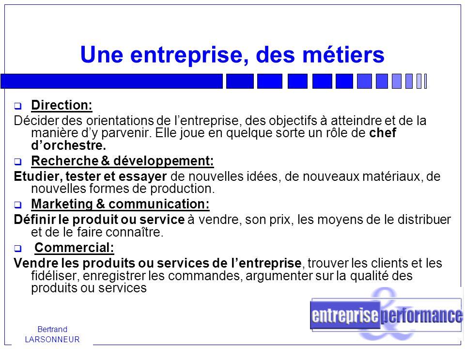 Bertrand LARSONNEUR Une entreprise des métiers  Production: Fabriquer un produit: par exemple une voiture, une tablette de chocolat ou du papier.