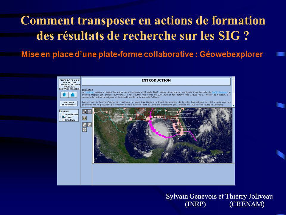 Comment transposer en actions de formation des résultats de recherche sur les SIG .