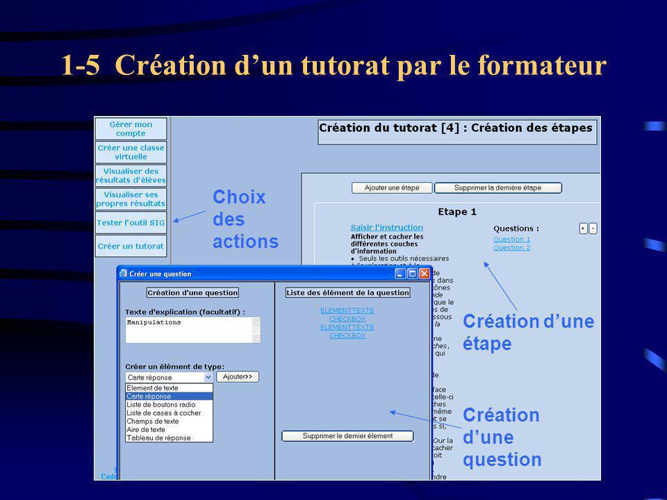 1-5 Création d'un tutorat par le formateur Choix des actions Création d'une question Création d'une étape