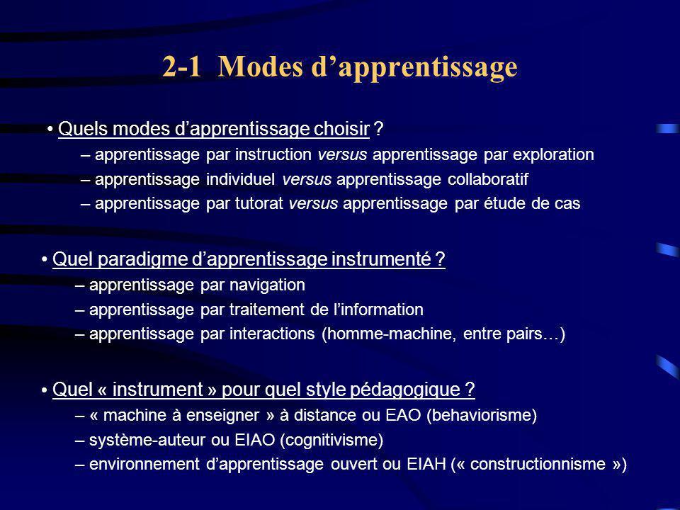 2-1 Modes d'apprentissage Quel « instrument » pour quel style pédagogique .