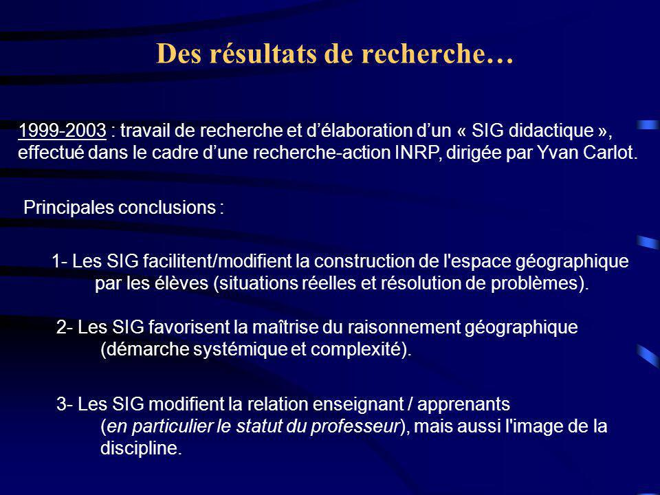 Des résultats de recherche… 1999-2003 : travail de recherche et d'élaboration d'un « SIG didactique », effectué dans le cadre d'une recherche-action INRP, dirigée par Yvan Carlot.