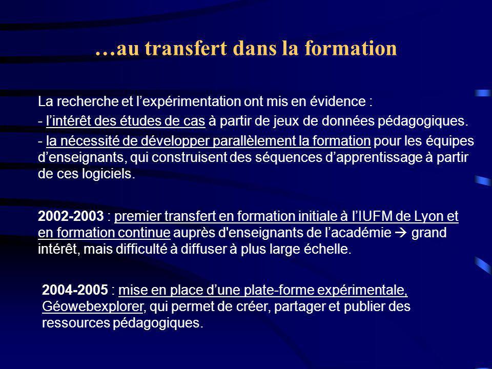 …au transfert dans la formation 2002-2003 : premier transfert en formation initiale à l'IUFM de Lyon et en formation continue auprès d enseignants de l'académie  grand intérêt, mais difficulté à diffuser à plus large échelle.