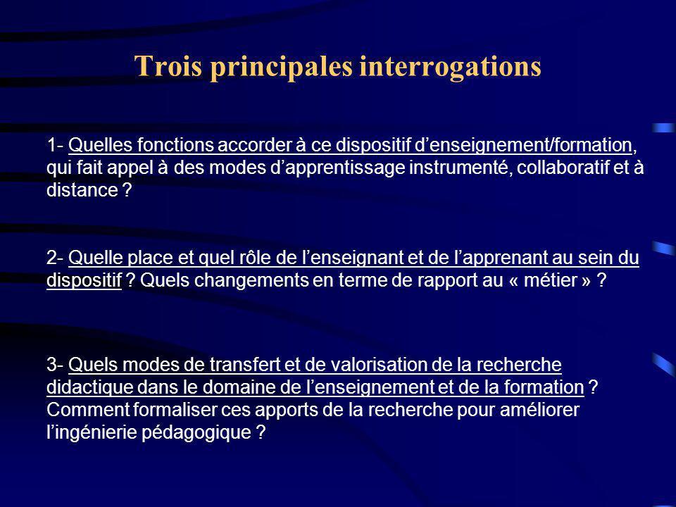 Trois principales interrogations 3- Quels modes de transfert et de valorisation de la recherche didactique dans le domaine de l'enseignement et de la formation .