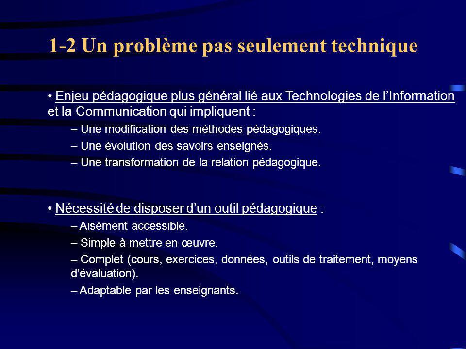 1-2 Un problème pas seulement technique Enjeu pédagogique plus général lié aux Technologies de l'Information et la Communication qui impliquent : – Une modification des méthodes pédagogiques.