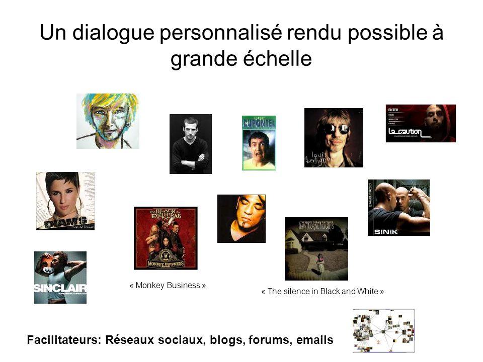 Un dialogue personnalisé rendu possible à grande échelle « The silence in Black and White » « Monkey Business » Facilitateurs: Réseaux sociaux, blogs, forums, emails