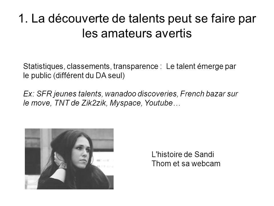 1. La découverte de talents peut se faire par les amateurs avertis L'histoire de Sandi Thom et sa webcam Statistiques, classements, transparence : Le