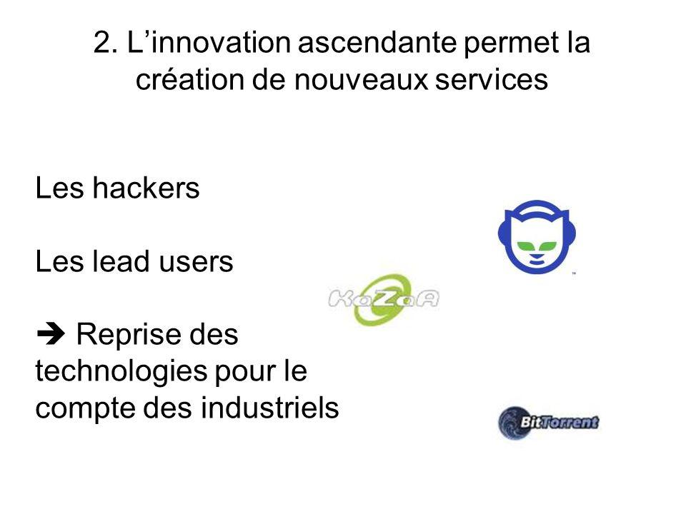 2. L'innovation ascendante permet la création de nouveaux services Les hackers Les lead users  Reprise des technologies pour le compte des industriel